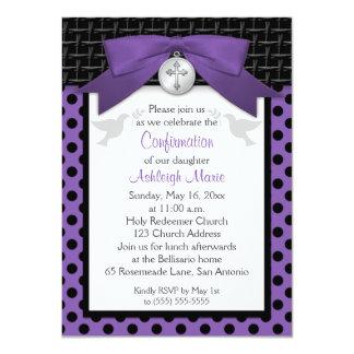 La confirmación santa IMPRESA de la púrpura del Invitación 11,4 X 15,8 Cm