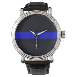 La correa de cuero Blue Line fino de los hombres Reloj