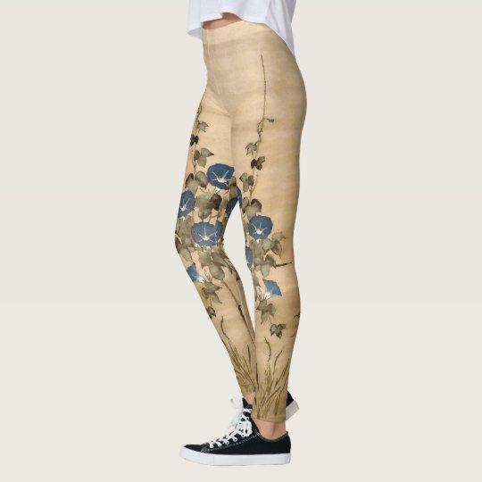 La correhuela florece la vid por todo las polainas leggings