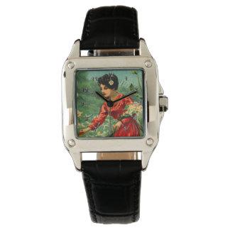 La cosecha de la mujer florece el vintage reloj de pulsera