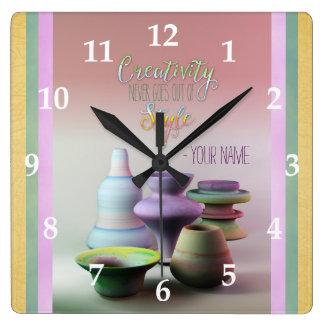 La creatividad de la cerámica de la acuarela nunca reloj cuadrado