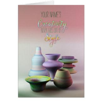 La creatividad de la cerámica de la acuarela nunca tarjeta de felicitación