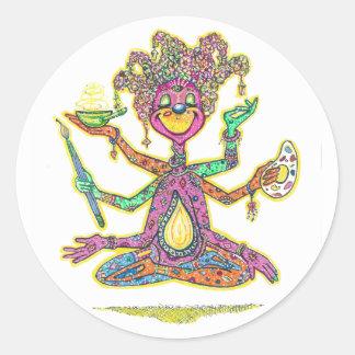 La creatividad se personifica en esta imagen de la pegatina redonda