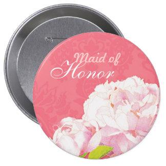 La criada rosada del boda del Peony del honor Chapa Redonda De 10 Cm