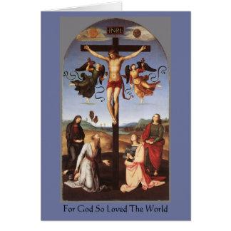 La crucifixión de Cristo por Raphael Tarjeta De Felicitación