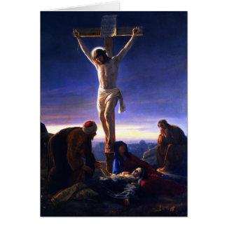 La crucifixión de Jesús. Tarjeta de la bella arte