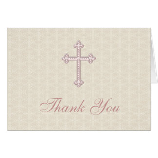 La cruz beige del rosa del damasco le agradece tarjeta pequeña