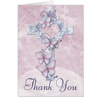 La cruz cristiana con las mariposas le agradece tarjeta de felicitación