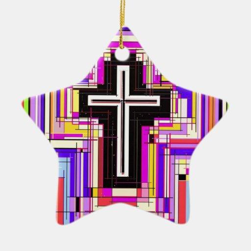 La cruz cristiana religiosa adornos de navidad