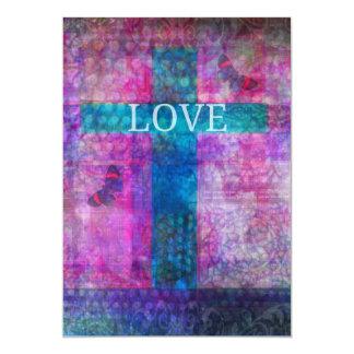 La cruz del amor con el boda de la mariposa invita invitación 12,7 x 17,8 cm