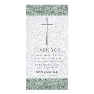 La cruz del metal/el entierro de piedra le tarjeta fotográfica personalizada