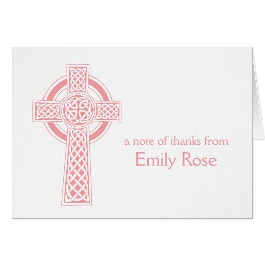 La cruz irlandesa religiosa rosada le agradece tarjeta