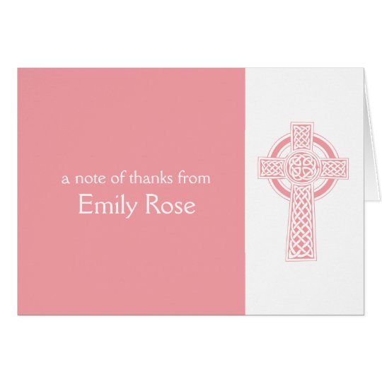 La cruz irlandesa religiosa rosada le agradece tarjeta pequeña