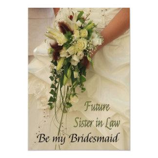 La cuñada futura sea por favor dama de honor invitación 12,7 x 17,8 cm