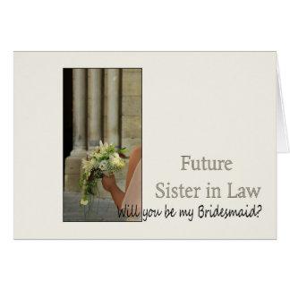 La cuñada futura sea por favor dama de honor tarjeta de felicitación
