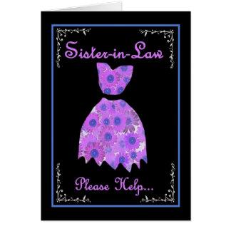 La cuñada invita - al vestido púrpura tarjeta de felicitación