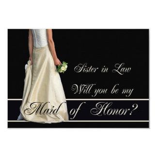 ¿La cuñada, sea por favor mi criada del honor? Invitación 8,9 X 12,7 Cm