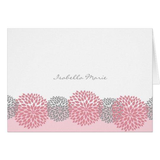 La dalia rosada y gris le agradece observar tarjeta pequeña