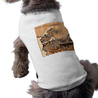 La decoración de madera de bambú del estilo de la camiseta sin mangas para perro