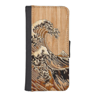 La decoración de madera de bambú del estilo de la fundas tipo cartera para iPhone 5