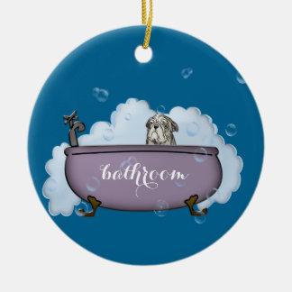 la decoración divertida del cuarto de baño del adorno navideño redondo de cerámica