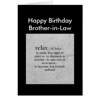 La definición del cuñado del cumpleaños relaja tarjeta de felicitación