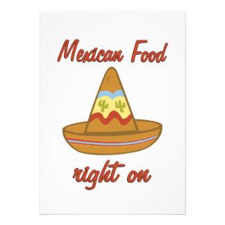 La derecha mexicana de la comida encendido invitaciones personales