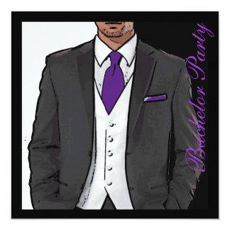 La despedida de soltero blanca negra púrpura del invitación 13,3 cm x 13,3cm