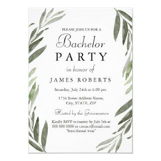 La despedida de soltero verde simple moderna de la invitación 12,7 x 17,8 cm