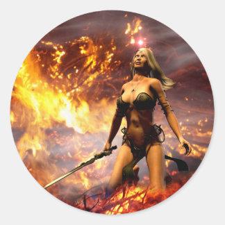 la diosa del fuego pegatina redonda