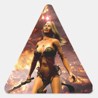 la diosa del fuego pegatina triangular
