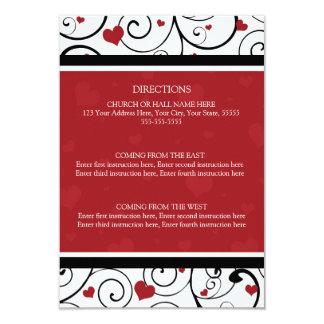 La dirección del boda carda corazones de las invitación 8,9 x 12,7 cm