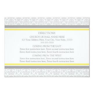 La dirección del boda carda el damasco del gris invitación 8,9 x 12,7 cm