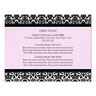 La dirección del boda carda el damasco negro invitación 10,8 x 13,9 cm