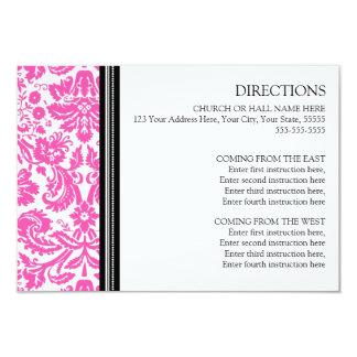 La dirección del boda carda el damasco negro invitación 8,9 x 12,7 cm