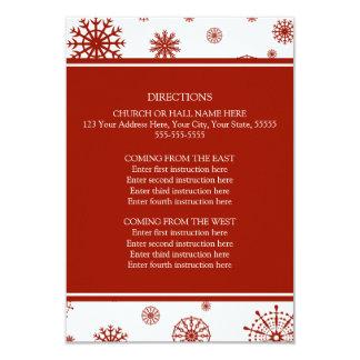 La dirección del boda del invierno carda nieve invitación 8,9 x 12,7 cm