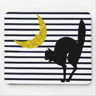 """La """"diversión acentúa"""" Halloween_Black Cat_Moon Alfombrilla De Ratón"""
