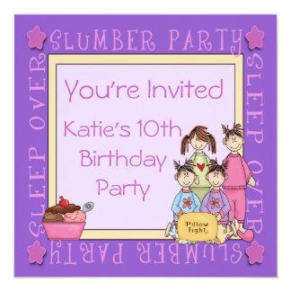 La diversión de la fiesta de pijamas invita invitaciones personales