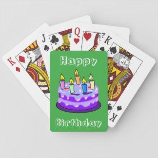La diversión de la torta del feliz cumpleaños barajas de cartas