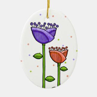 La diversión Doode florece el ornamento púrpura de Adorno Ovalado De Cerámica