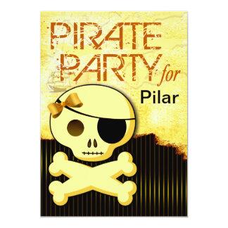 """La diversión embroma al chica del pirata - """"bebé invitación 12,7 x 17,8 cm"""