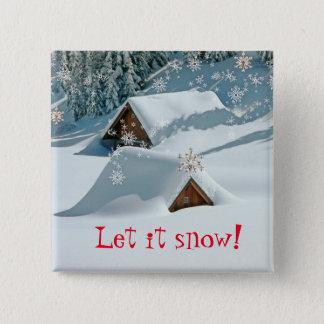 La diversión lo dejó nevar botón del navidad de la