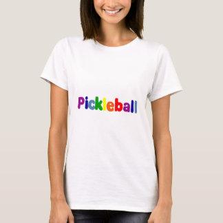La diversión Pickleball colorido pone letras a Camiseta