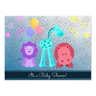 La ducha animal del bebé invita invitación 16,5 x 22,2 cm