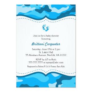 La ducha azul del camuflaje del bebé invita a los invitación 12,7 x 17,8 cm