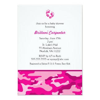 La ducha del camuflaje del rosa de la niña invita invitación 12,7 x 17,8 cm