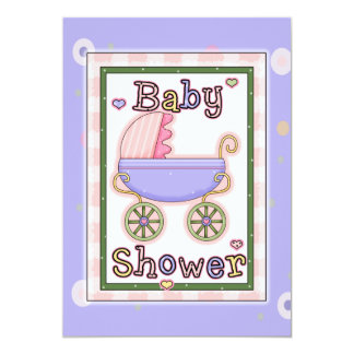 La ducha del carro del bebé del chica púrpura invitaciones personales
