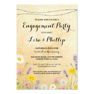 La ducha floral del fiesta de compromiso de las invitación 12,7 x 17,8 cm