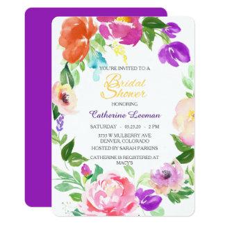 La ducha nupcial de la guirnalda floral colorida invitación 12,7 x 17,8 cm
