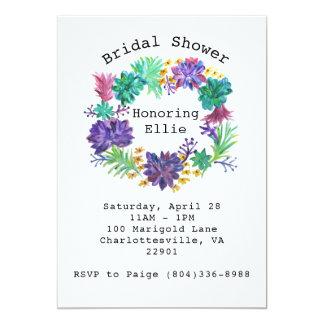 La ducha nupcial de la guirnalda floral y invitación 12,7 x 17,8 cm